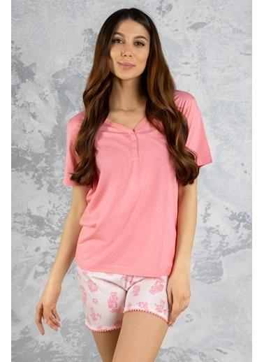 Katia & Bony Teddy Bear Desenli Kadın şortlu Pijama Takımı - Pembe Pembe